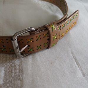 Tan + rainbow stitch belt